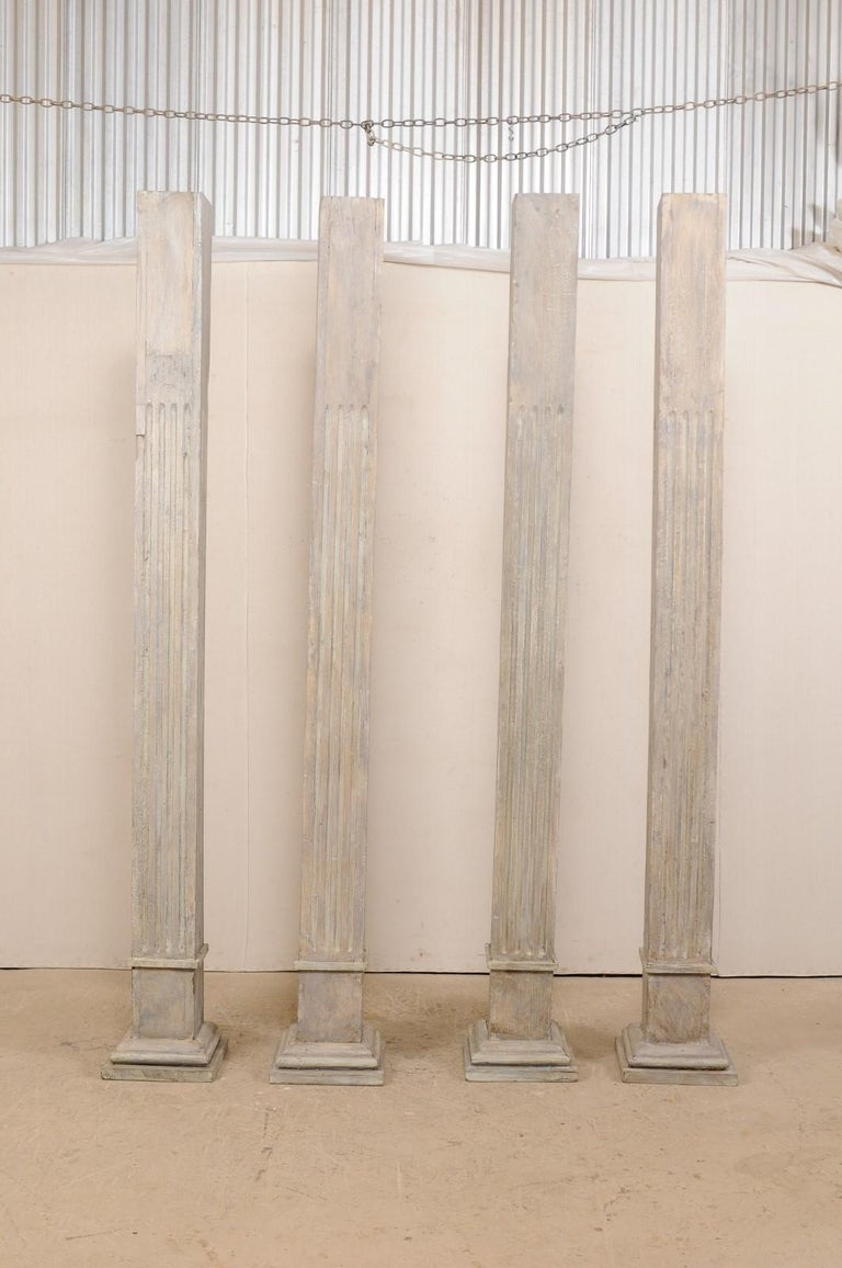 American Set of Four 19th Century Square Fluted Painted Columns For Sale