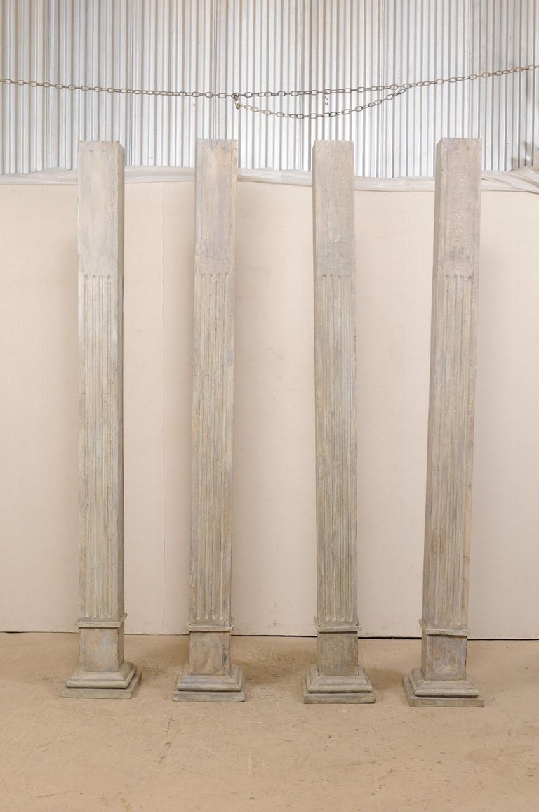 Carved Set of Four 19th Century Square Fluted Painted Columns For Sale