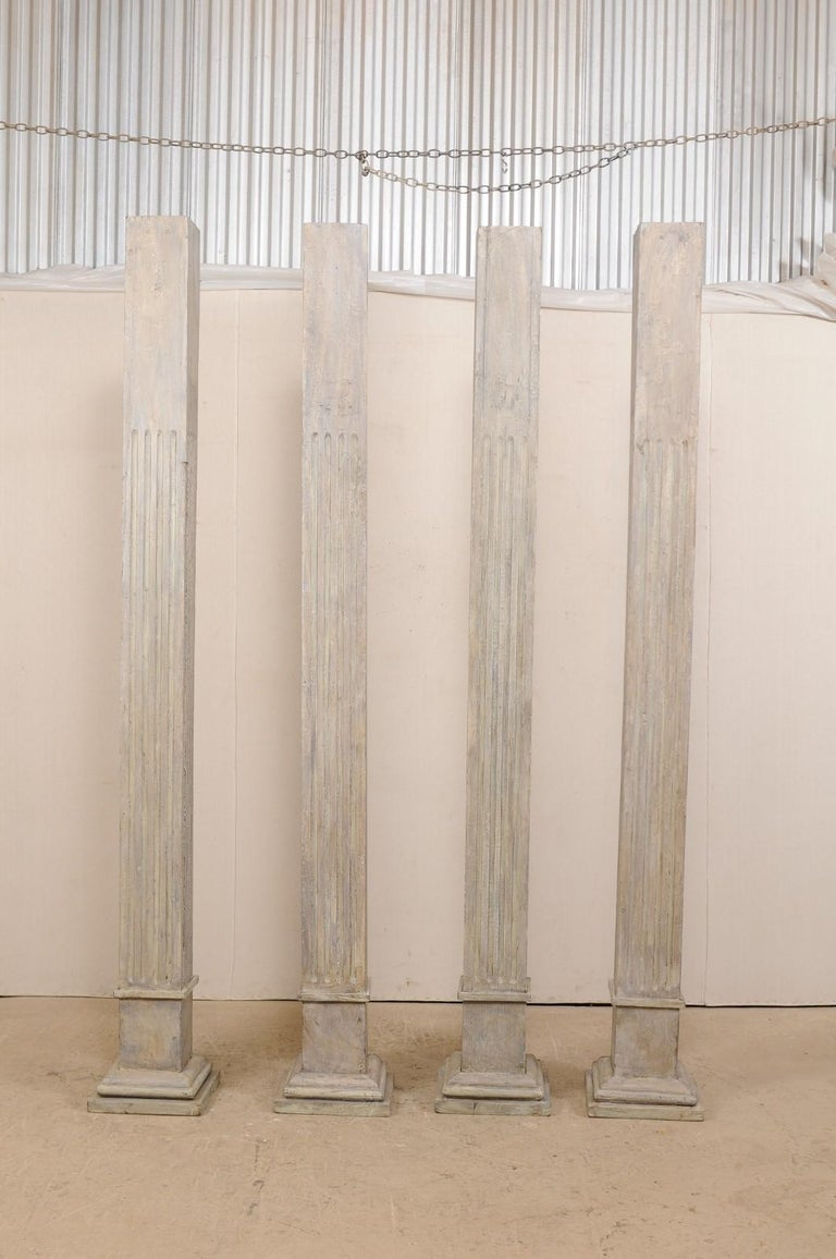 Set of Four 19th Century Square Fluted Painted Columns In Good Condition For Sale In Atlanta, GA