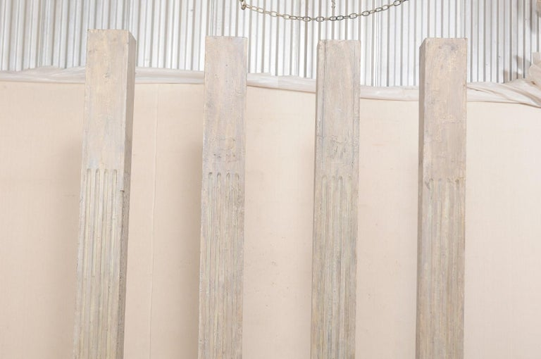 Wood Set of Four 19th Century Square Fluted Painted Columns For Sale