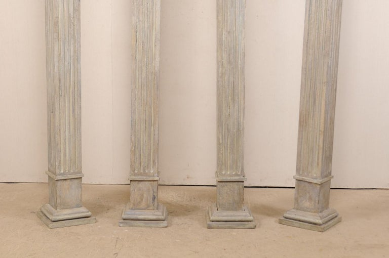 Set of Four 19th Century Square Fluted Painted Columns For Sale 1
