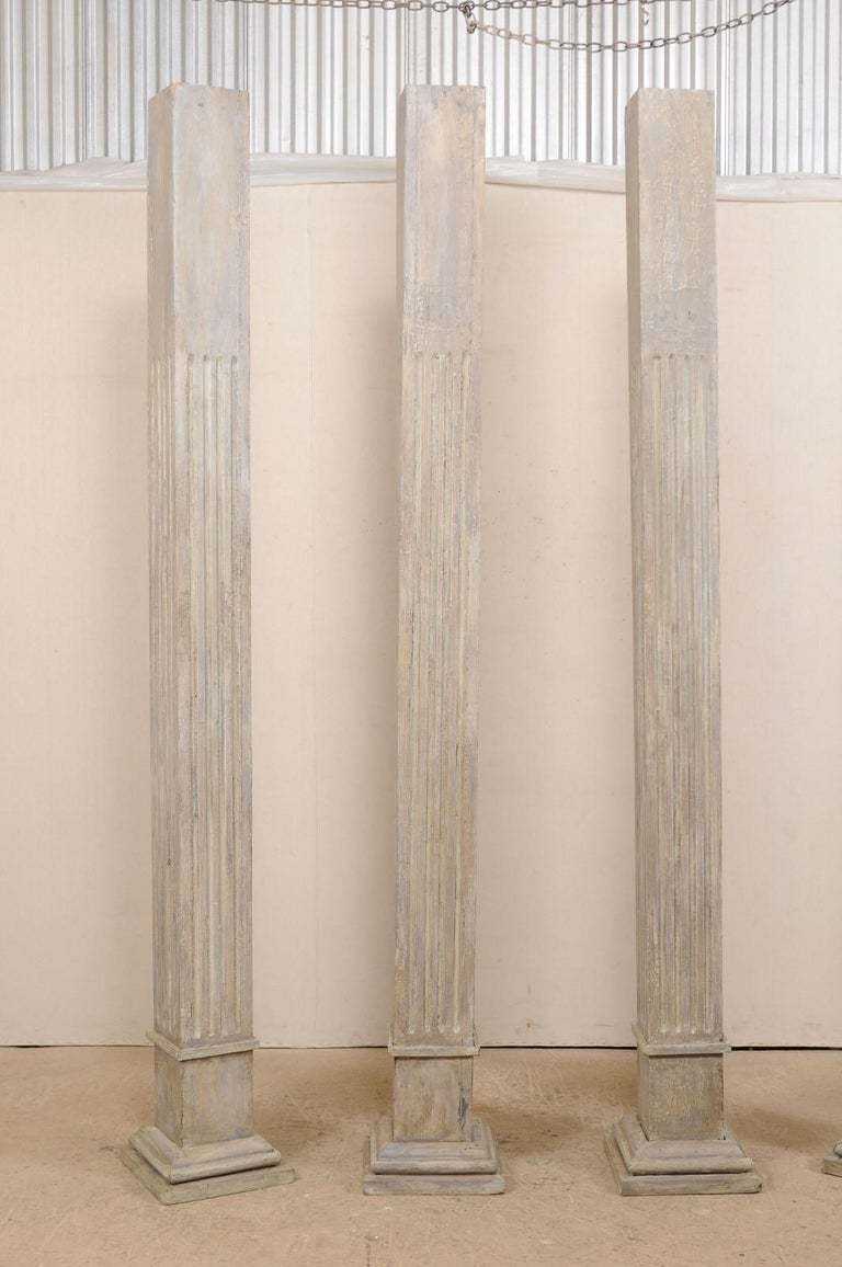 Set of Four 19th Century Square Fluted Painted Columns For Sale 2