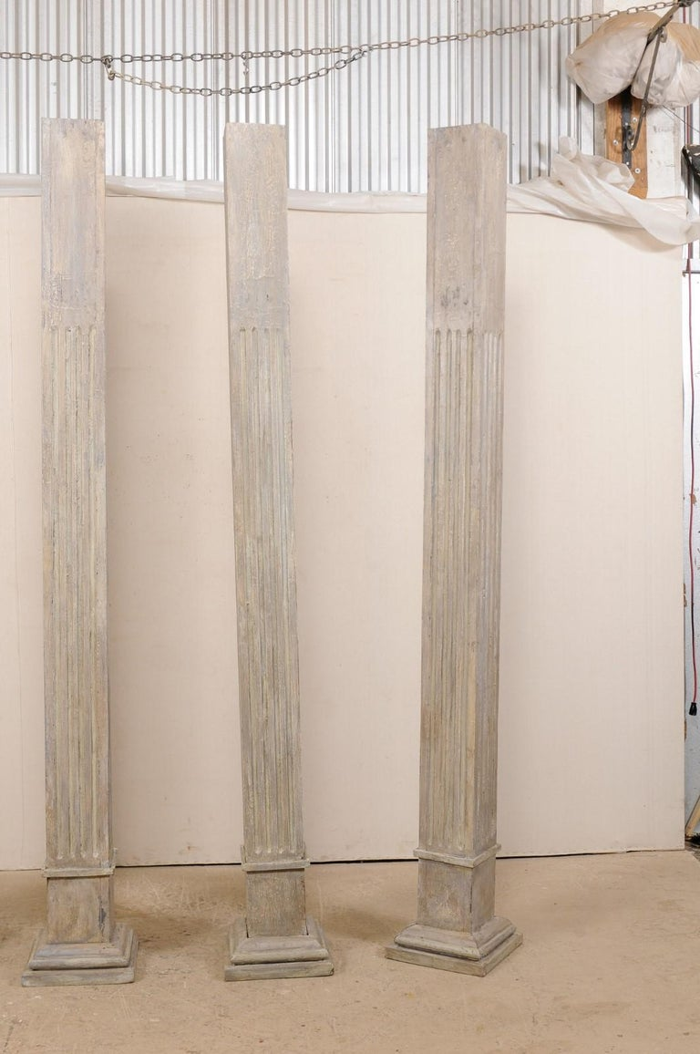 Set of Four 19th Century Square Fluted Painted Columns For Sale 3