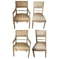 Set of Four 19th Century Swedish Painted Armchairs and Side Chairs