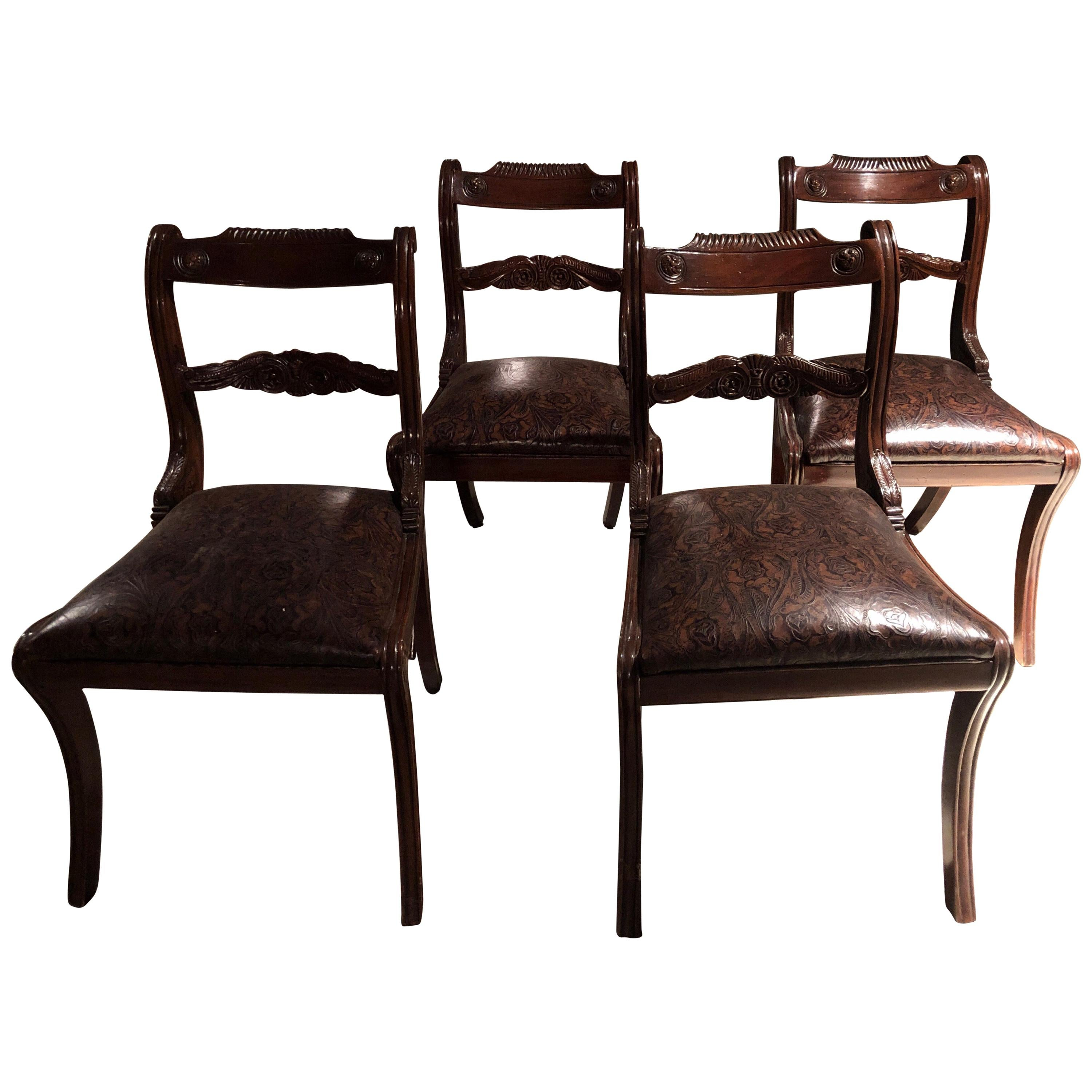 Set of Four 19th Century Victorian Mahogany Dining Chairs