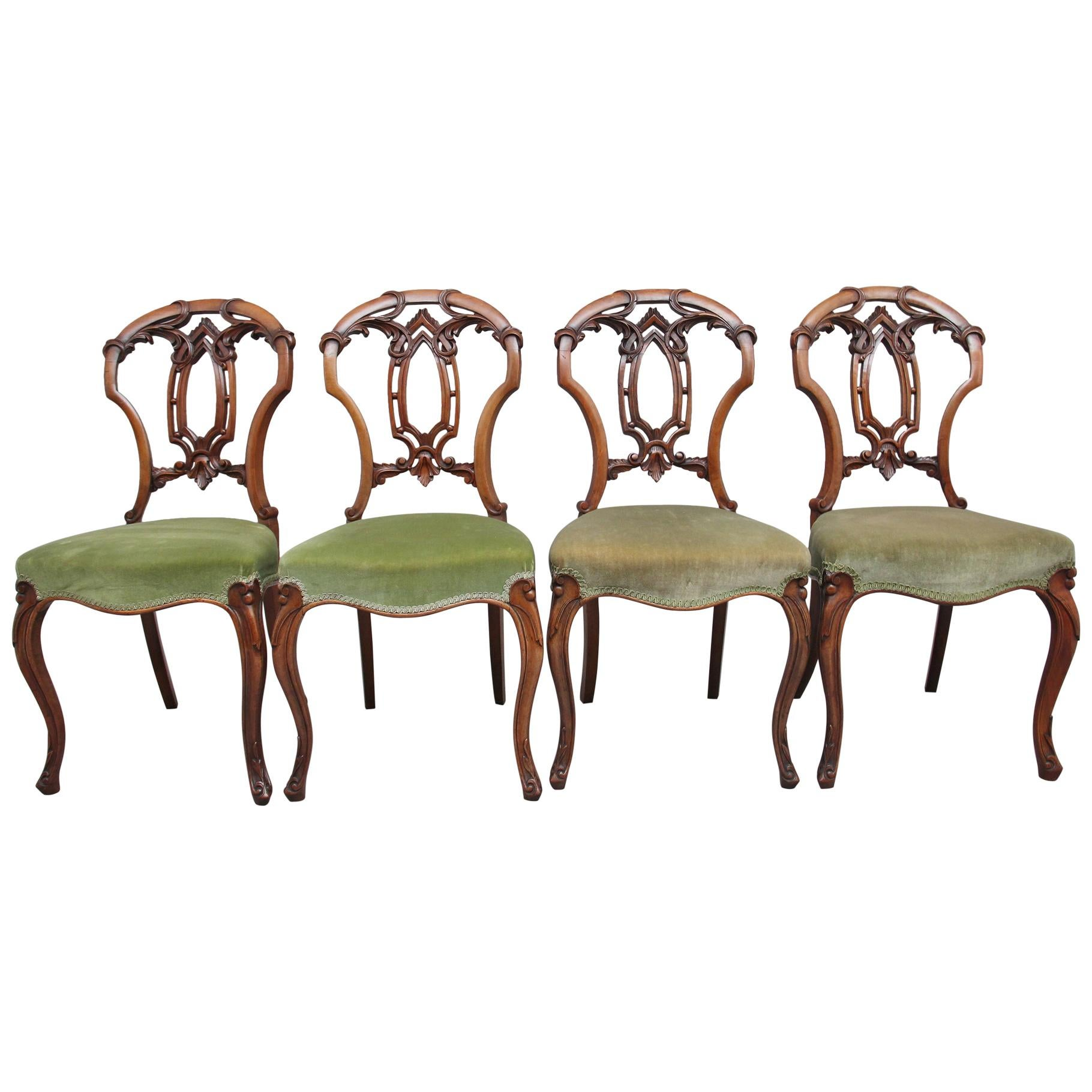 Set of Four 19th Century Walnut Dining Chairs