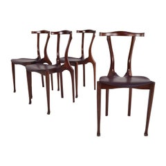 Set of Four First Edition Oscar Tusquets Gaulino Oak and Leather Chairs by Jané