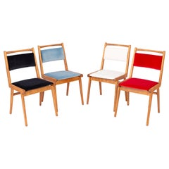 Set of Four 20th Century Black Blue White and Red Velvet Chairs, Poland, 1960s