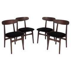 Set of Four 20th Century Black Velvet Chairs, 1960s