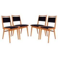 Set of Four 20th Century Black Velvet Chairs, Poland, 1960s