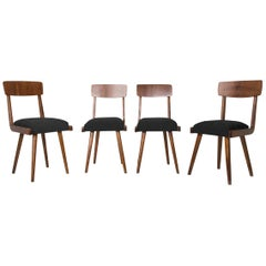 Set of Four 20th Century Black Wood Chairs, 1960s