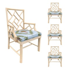 Set of Four 20th Century Chinese Chippendale Painted Armchairs
