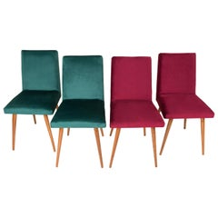 Set of Four 20th Century Dark Green and Burgundy Velvet Chairs, 1960s