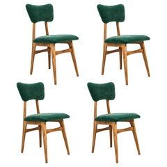 Set of Four 20th Century Dark Green Velvet Chairs, 1960s
