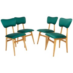 Set of Four 20th Century Dedar Tabularasa Green Chairs, 1960s