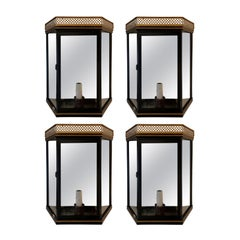 Set of Four 20th Century Mirrored and Glass Wall Mount Lanterns, Custom Finish