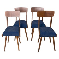 Set of Four 20th Century Navy Blue Wood Chairs, 1960s