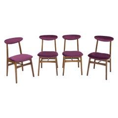 Set of Four 20th Century Plum Velvet Rajmund Halas Chairs, 1960s