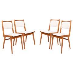 Set of Four 20th Century White Velvet Chairs, Poland, 1960s