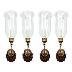 Set of Four 20th Century Wood Shell Back Sconces with Etched Glass Hurricanes