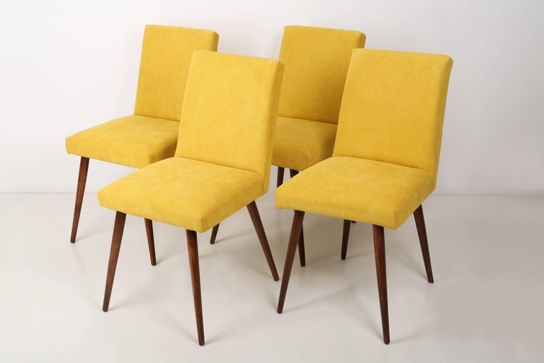 Mid-Century Modern Set of Four 20th Century Yellow Chairs, 1960s For Sale
