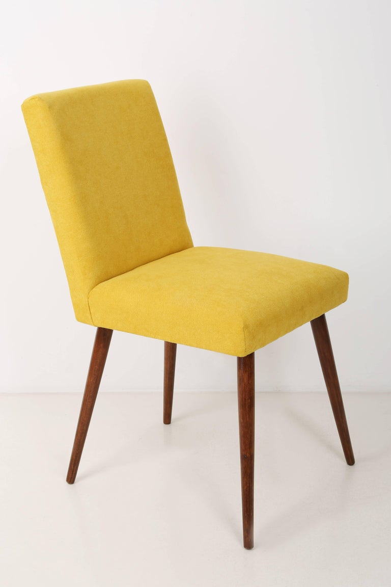 Polish Set of Four 20th Century Yellow Chairs, 1960s For Sale