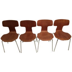 Set of Four 3103 Bent Teak Dining Chairs by Arne Jacobsen for Fritz Hansen