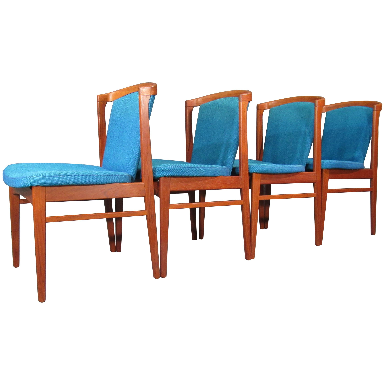 Set of Four '4' Rare Midcentury, Danish Modern Teak Dining Chairs by Erik Buck