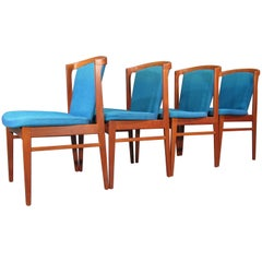 Set of Four '4' Rare Midcentury, Danish Modern Teak Dining Chairs by Erik Buck