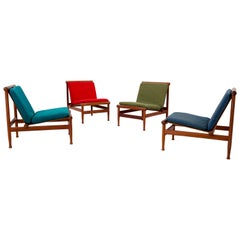 Set of Four '501' Lounge Chairs by Kai Lyngfeld Larsen in Teak, Denmark, 1950s