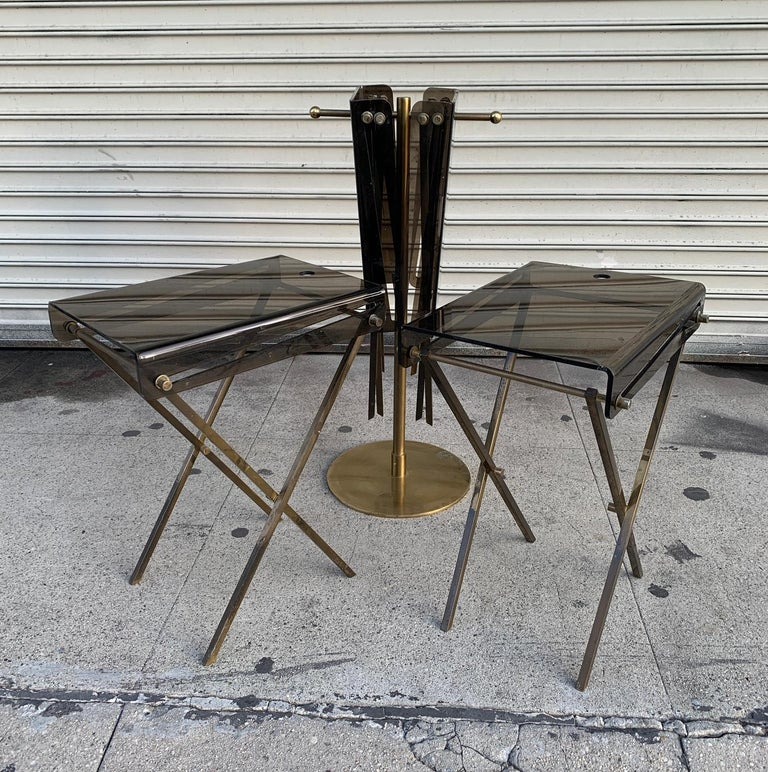 Set of Four Acrylic and Brass Serving Trays and Stand by Charles Hollis Jones For Sale 4