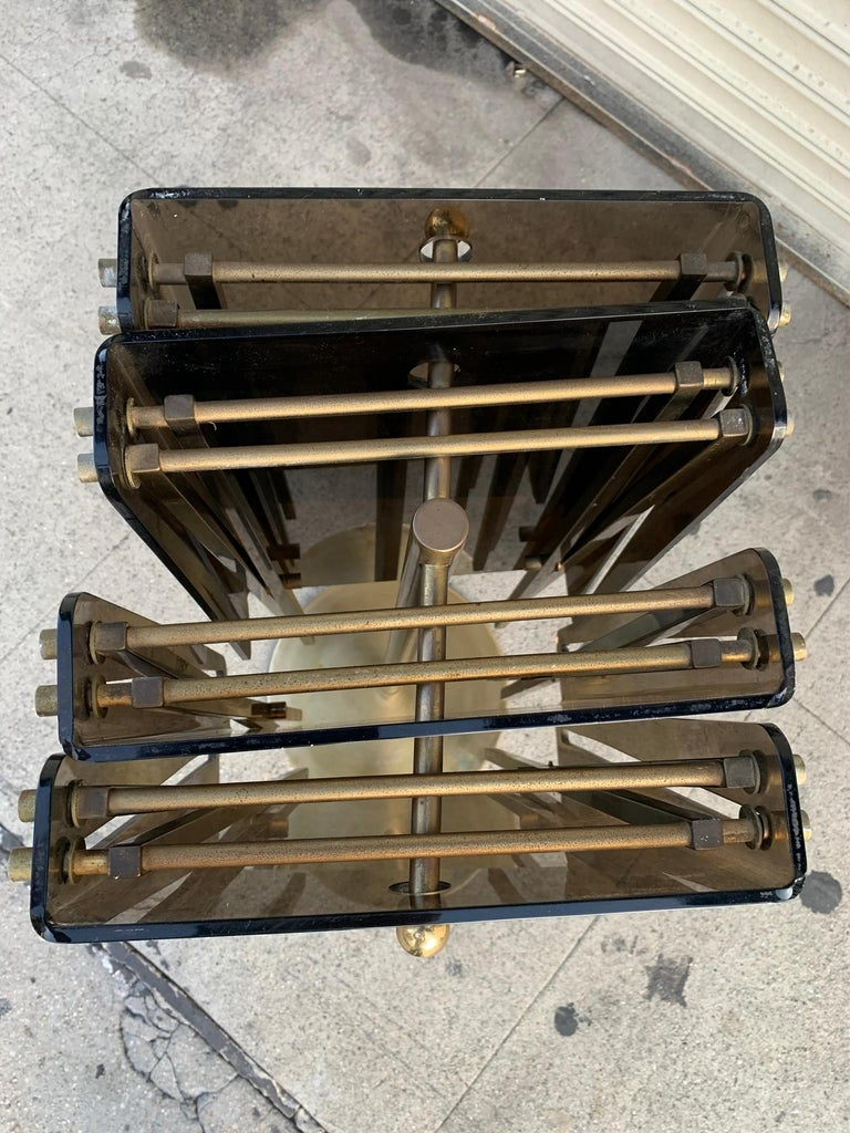 Set of Four Acrylic and Brass Serving Trays and Stand by Charles Hollis Jones In Fair Condition For Sale In Los Angeles, CA