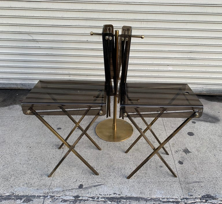 Set of Four Acrylic and Brass Serving Trays and Stand by Charles Hollis Jones For Sale 3