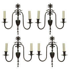 Set of Four Adam Style Twin Branch Wall Lights