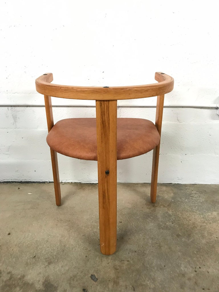 Set of Four Oak Dining Chairs, Style of Carlo Scarpa, circa 1968 In Good Condition For Sale In Miami, FL