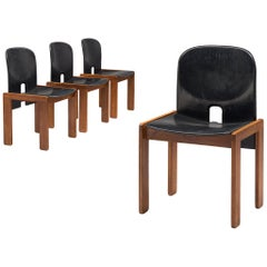 Set of Four Afra and Tobia Scarpa Chairs in Black Leather and Walnut