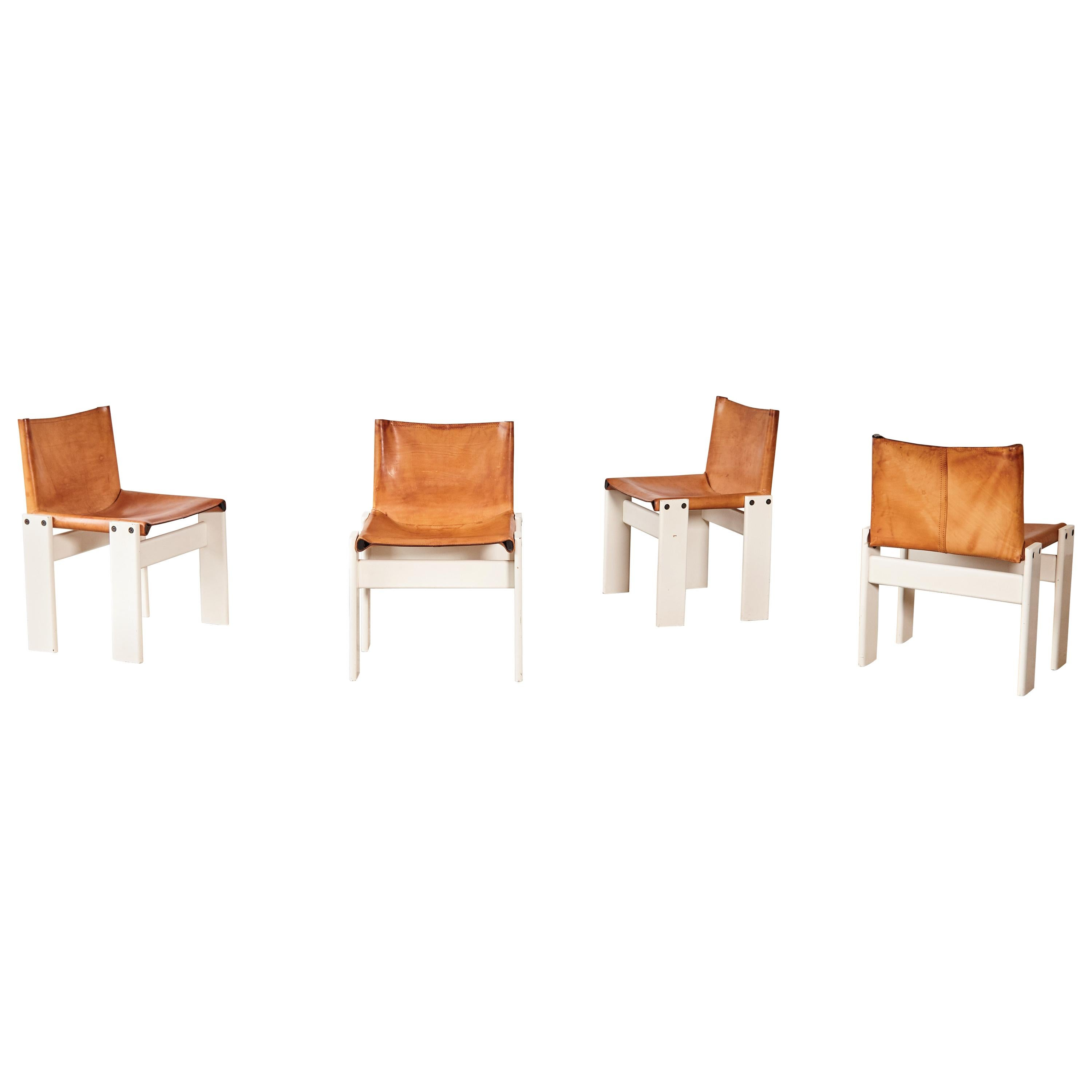 Set of Four Afra & Tobia Scarpa Monk Dining Chairs, Tan Leather, Italy, 1970s