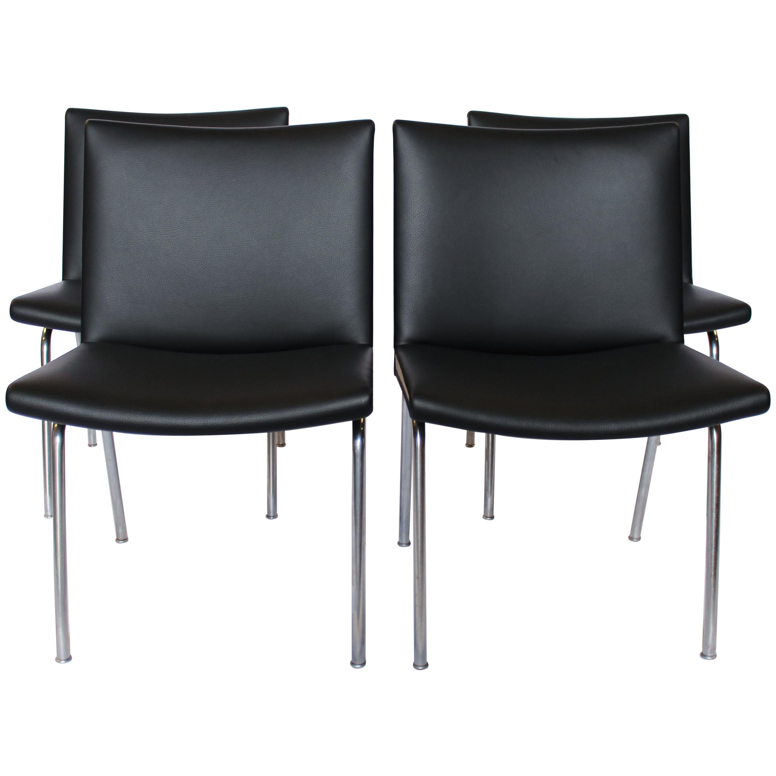 """Set of Four """"Airport-Chairs"""", Model AP37 by Hans J. Wegner and AP Stolen, 1950s"""