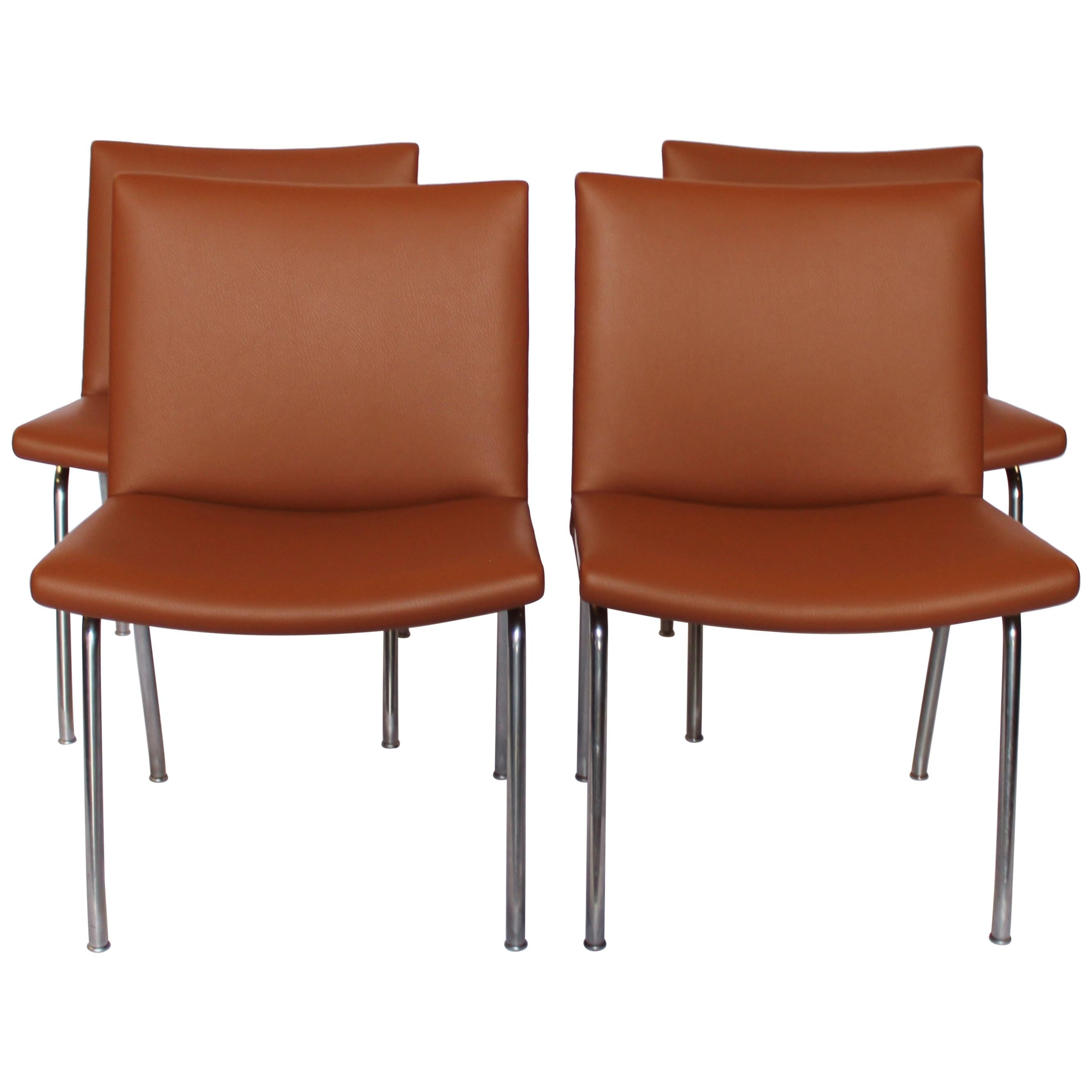 """Set of Four """"Airport-Chairs"""", Model AP37, by Hans J. Wegner and AP Stolen, 1950s"""