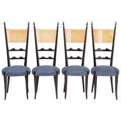 Set of four Italian Mid-Century Modern High Back dining chairs by Aldo Tura