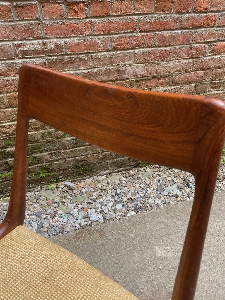 Set of Four Alfred Christensen Boomerang Teak Chairs For Sale 3