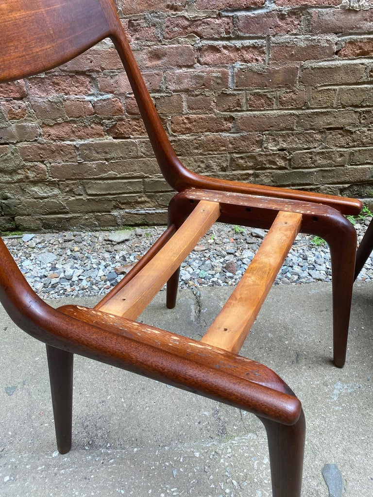 Set of Four Alfred Christensen Boomerang Teak Chairs For Sale 7