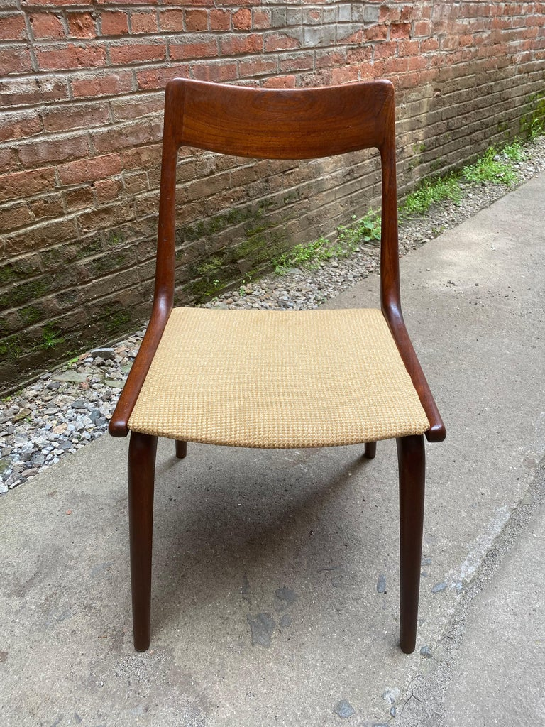 Set of Four Alfred Christensen Boomerang Teak Chairs In Good Condition For Sale In Garnerville, NY