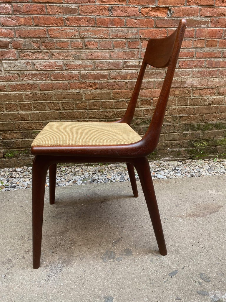 Upholstery Set of Four Alfred Christensen Boomerang Teak Chairs For Sale