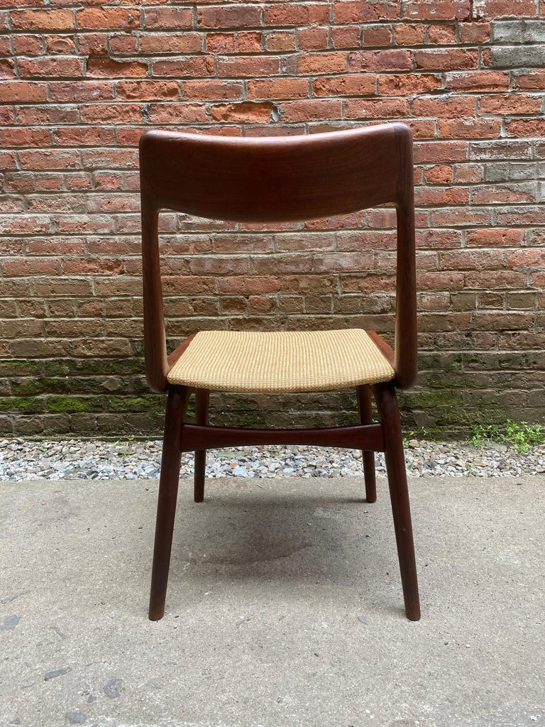 Set of Four Alfred Christensen Boomerang Teak Chairs For Sale 1
