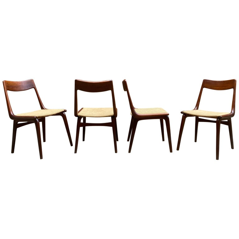 Set of Four Alfred Christensen Boomerang Teak Chairs For Sale