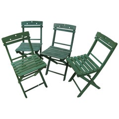 Set of Four All Wood Slated Bistro Cafe Chairs
