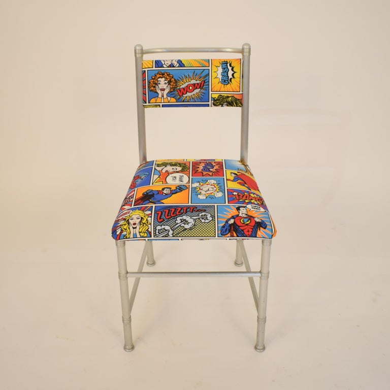 Set of Four Aluminium Dining Chairs by Warren McArthur with Pop Art Fabric Cover For Sale 4