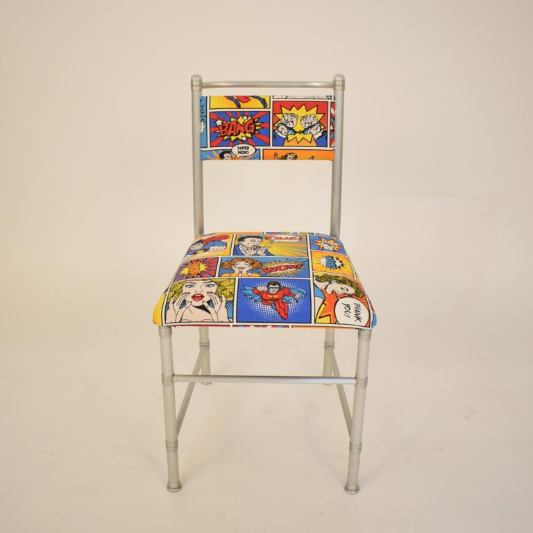 Set of Four Aluminium Dining Chairs by Warren McArthur with Pop Art Fabric Cover For Sale 5