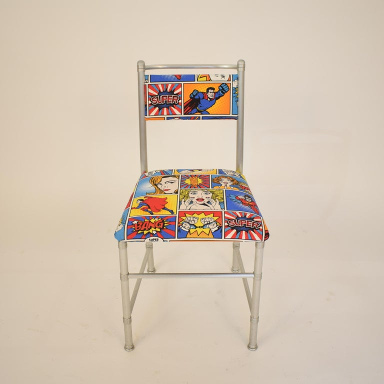 Set of Four Aluminium Dining Chairs by Warren McArthur with Pop Art Fabric Cover For Sale 6